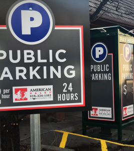 American Valet Public Parking Lot Signage
